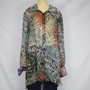 Messagerie   Multi-Colored Button Up Blouse XL